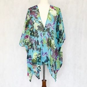 Cejon Floral Print Sheer Kimono Cover Up Top